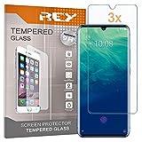 REY Pack 3X Panzerglas Schutzfolie für ZTE AXON 10 PRO, Bildschirmschutzfolie 9H+ Festigkeit, Anti-Kratzen, Anti-Öl, Anti-Bläschen