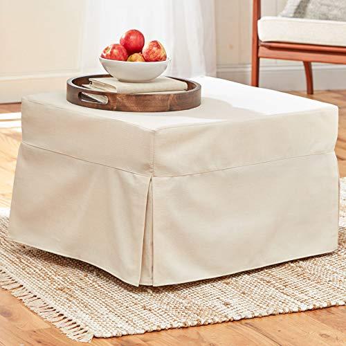 BrylaneHome Oversized Folding Sleeper Ottoman Hidden Bed (350 Lb. Capacity), Natural Beige