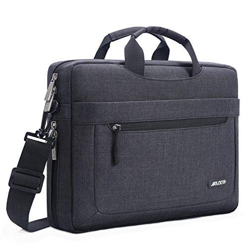 MOSISO Umhängetasche Laptoptasche Kompatibel mit MacBook Pro 16 Zoll A2141 2020 2019, 15-15,6 Zoll MacBook Pro, Notebook, Polyester Schultertasche mit Einstellbar Tiefe beim Unterseite, Schwarz
