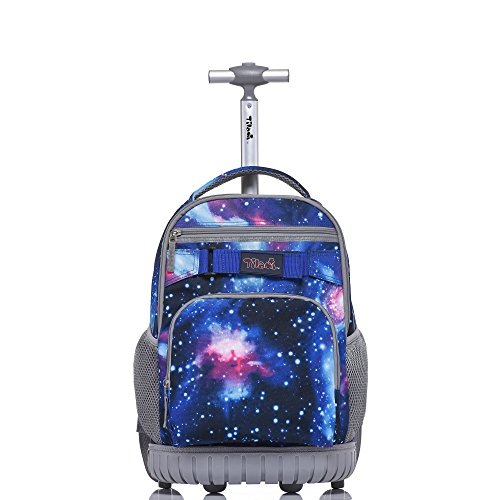 Tilami Rolling Backpack 18 inch Boys and Girls Laptop Backpack, Galaxy