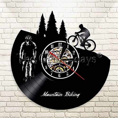 Zhuhuimin 1 mountainbike wandklok Freeride wielersport sport retro wanddecoratie geluidsplaat LP klok fiets decoratie klok 12x12inch Met led-licht.