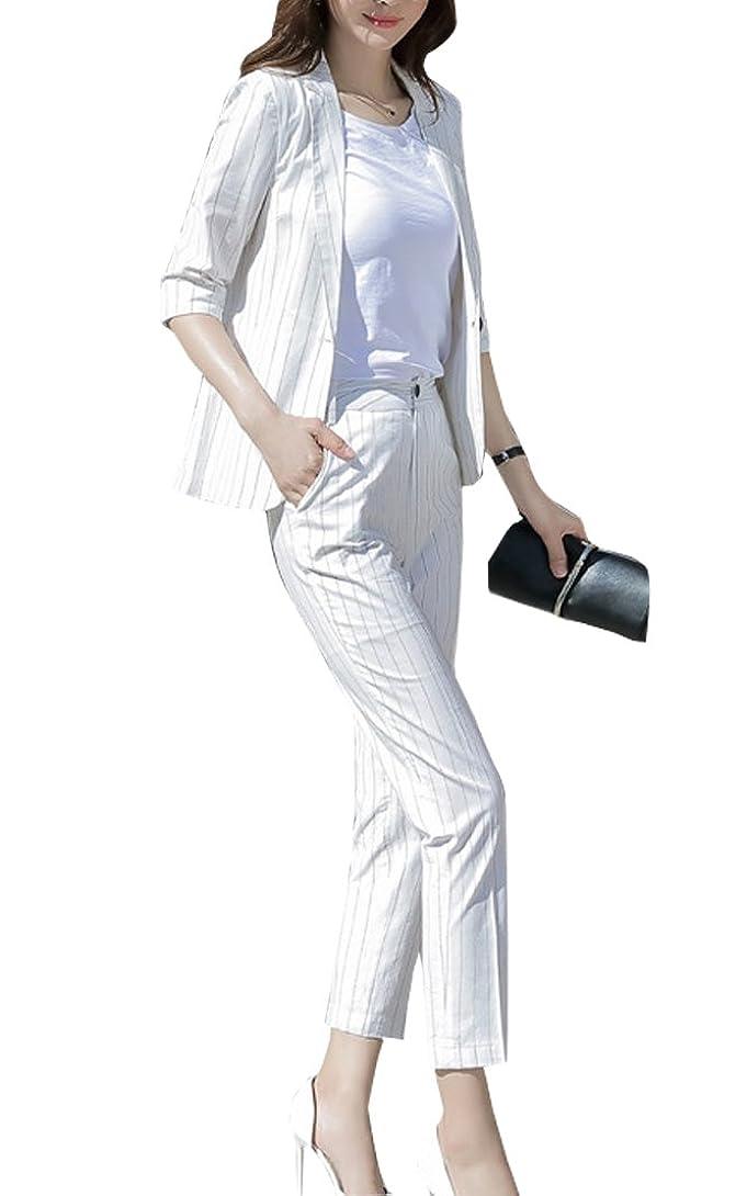 作ります留め金ニンニク春 夏 秋 スーツレディース 背抜き ストライプ 全3色 パンツ+ジャケット 通勤 フォーマル カジュアル スーツ おおきいサイズ