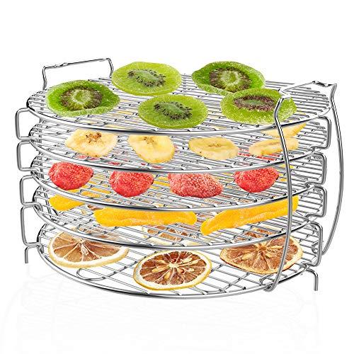 Dehydrator Rack Dehydrator Stand, Zalava Grill Stand Air Fryer Kompatibel mit Ninja Foodi Schnellkochtopf & Luftfritteuse 6.5 & 8 Quart lebensmittelechter 304 Edelstahl mit 5 stapelbaren Schichten
