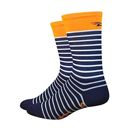 Defeet AIRTSNWO201 Aireator Sailor Socken, Größe M, Marineblau/Weiß/Hi-Vis Orange