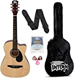 Intern INT-38C-NT-G Right Handed Acoustic Guitar Kit, With Bag, Strings, Pick And Strap (Natural, 6-Strings)