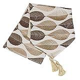 KongEU Camino de Mesa con diseño de Hojas Bordadas de Lino y algodón Europeo Moderno para Comedor o Mesa de café con Borla, marrón, 32 * 120cm