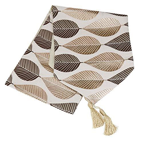 KongEU Camino de mesa con diseno de hojas bordadas de lino y algodon europeo moderno para comedor o mesa de cafe con borla, marron, 32*200cm