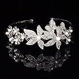 Miya 1 diadema con bonitas flores grandes de cristales y perlas, joyas de novia de boda