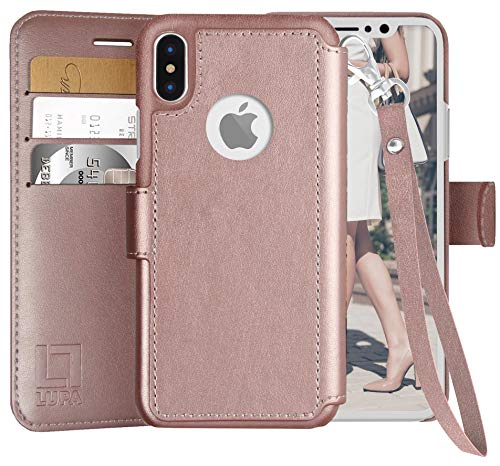 LUPA iPhone X Wallet Case-Slim & Lightweight iPhone X Flip Case with Credit Card Holder - iPhone 10 Wallet Case for Women & Men - Faux Leather iPhone Xs Purse Cases – Wristlet Rose Gold