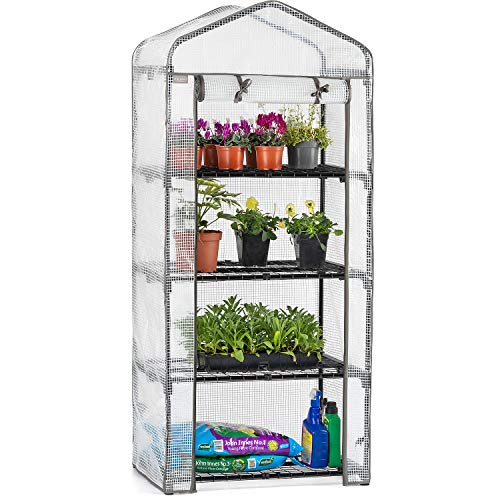CHRISTOW Mini Greenhouse 4 Tier, Reinforced Four Shelf Growhouse, Portable Heavy Duty Garden Grow House, 5ft 2in x 2ft 2in x 1ft 6in