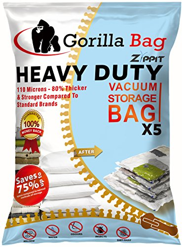 HEAVY DUTY 5 VACUUM STORAGE BAGS by Gorilla Bags, Extra Large 100x80cm. Extra Strong 110 Microns. For Clothes, Bedding, Duvets, Towels, Curtains and More. Double Zip Seal & Unique Turbo Valve Keeps Items Compressed For Longer