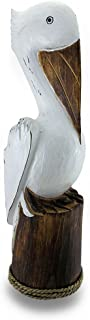 Zeckos Hand Carved/Painted Wooden Pelican On Piling Statue Coastal