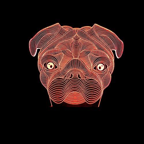 Lámpara Ilusión Óptica 3D, Luz Noche Led, Usb Decoración Lámpara Escritorio, 7 Del Tacto Del Color De La Lámpara, Con Control Remoto, Para Regalos De Cumpleaños, Perro