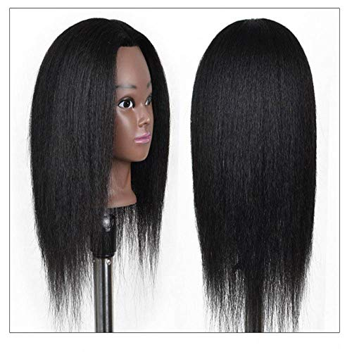 N-B Mannequin Head with Human Hair Doll with Bracket for 14 inch Hair Styling Braiding Curly Pre Stretched Extension Holder Manikin Hair Care for Girls and Kids Make Up Practice and Train Cosmetology