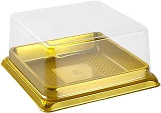 Hewnda 50 Pack of Clear plastic mini cake box muffins box cookies cookies muffins dome box wedding birthday gift box (3
