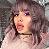 AISI HAIR Short Bob Wavy Wigs with Bangs Colorful Grey Pink Curly Wig for Women Natural Synthetic Shoulder Length Hair Wig for Halloween Cosplay (Mixed 6916#)