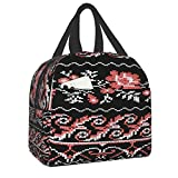 Reusable Tote Lunch Bag,Ukrainian Folk Embroidery Handmadewaterproof Insulated Cooler Lunch box Lunch Bags Luch Container for Office School Picnic Beach Workout