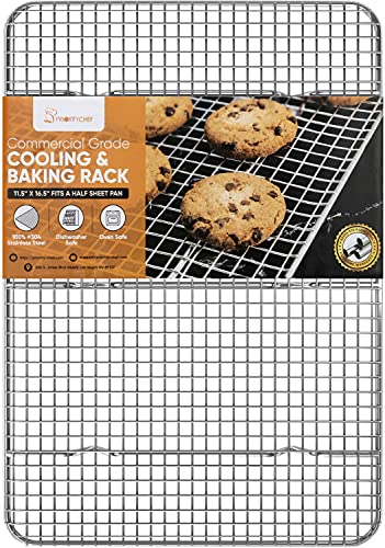 PriorityChef 18/8 Stainless Steel Cooling Rack, Heavy Duty Baking Rack For Oven Cooking, Fits Half Sheet Pan, Wire Rack For Cooking, Bacon, Cookie Cooling Rack, 11.5' x 16.5'
