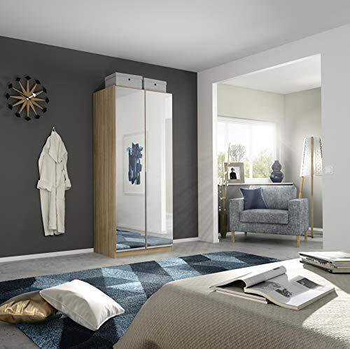 Rauch Möbel Alabama Schrank Kleiderschrank Drehtürenschrank in Eiche Sonoma mit Spiegel 2-türig inklusive Zubehörpaket Premium 1 Kleiderstange, 2 Einlegeböden, 1 Schubkasteneinsatz BxHxT 91x210x54 cm
