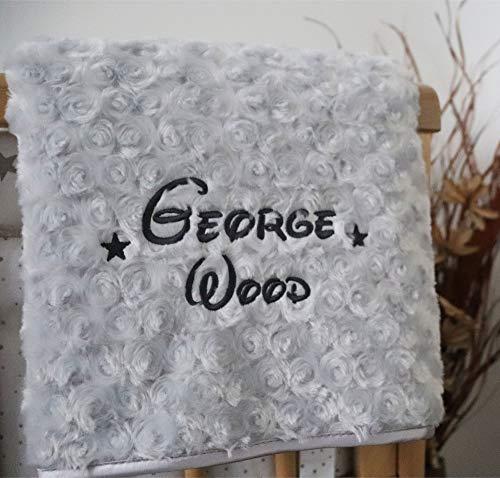Personalised Baby Blanket Luxury Grey Rosebud Disney Font Name P