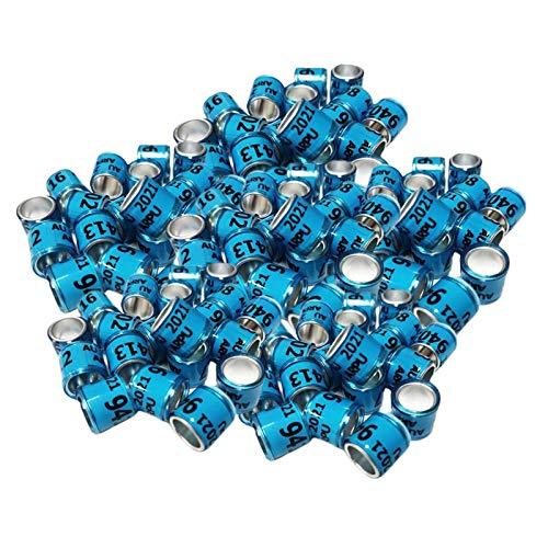 Fenteer 100Pcs 2021 Aluminio de Carreras Paloma pies Anillos Bandas Pollitos Pato Clips diámetro 8mm, Hermoso y Hermoso - Azul