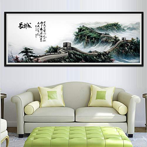 Cuadro de pared sin marco de estilo chino clásico, pintura de lienzo de arte de la gran pared para sala de estar, decoración de pared de sofá, 30x100cm sin marco