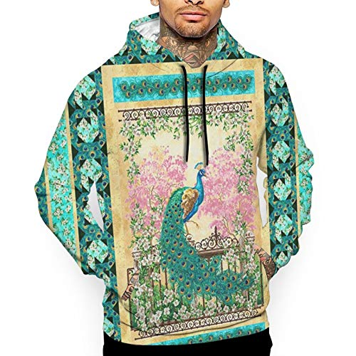 Mens Hoodies 3D Peacock Paradise Feathers Florals Hooded Sweatshirt with Pocket Black