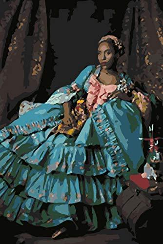 Paint by Numbers - Kit de pintura al óleo para adultos y niños, diseño de cuadro de regalo de lienzo preimpreso para decoración del hogar, corte clásico de mujer 40x50cm