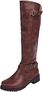 JJHAEVDY Women's Wide Calf Knee High Boot Leather Retro Riding Boot Fashion Buckle Boots Side Zipper Spring Low Heel Boots