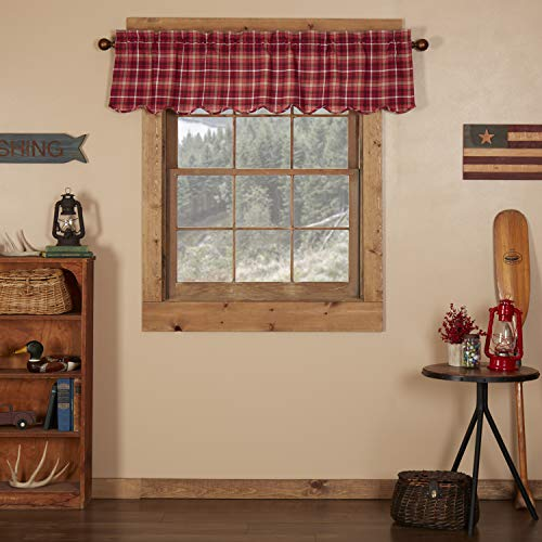 VHC Brands Americana Rustic & Lodge Kitchen Window Curtains - Braxton Red Scalloped Valance, 16x60