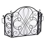 Christopher Knight Home Kingsport Fireplace Screen, Silver Flower On Black