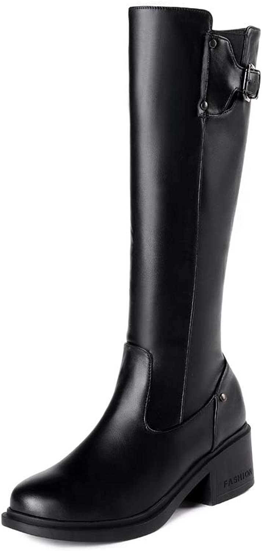 AN Womens Metal Buckles Square Heels Urethane Boots DKU02293