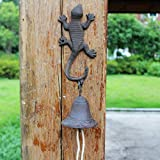 LXYFMS Gecko doorbell Wrought Iron Villa Wind Chime Hand Crank doorbell Simple Retro cast Iron Crafts Wind Chime 9.8x14x34cm Cast Iron doorbell