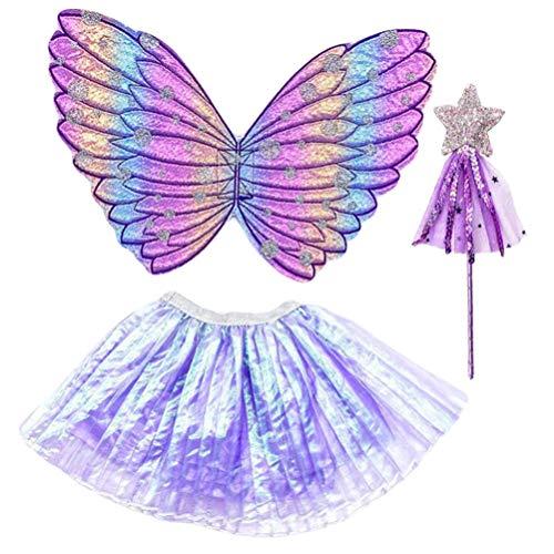STOBOK Luces LED para Niñas Mariposa Alas de Ángel Vestido de Tutú Brillante Cabeza de Varita de Hadas Conjunto de Disfraz de Princesa de Hadas Alas de Vestir Accesorios de Vestir 3