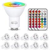 HYDONG Bombilla LED Colores GU10 6W RGB LED Foco Multicolor Bombillas con mando, 12 colores + Calido Blanca, 540lm, AC85-265V, para Aplique, Lámpara de riel, Luz de techo empotrada (Paquete de 10)