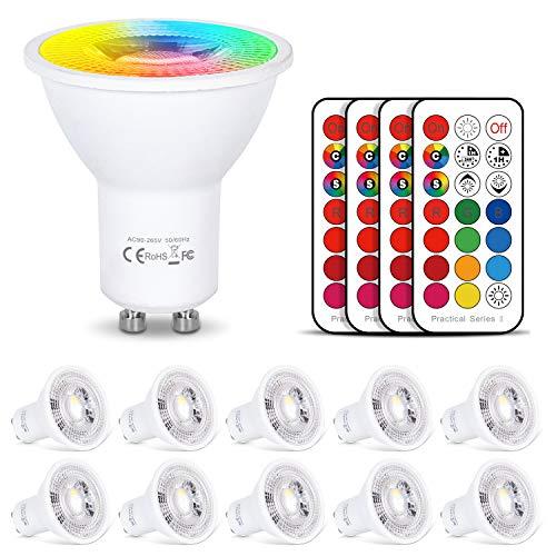 LED Lampe GU10 RGB+Warmweiß Farbwechsel Spot Licht Dimmbar 6W, 540LM, AC 85V - 265V, mit IR-Fernbedienung für Wandleuchte, Schienenleuchte, Deckeneinbauleuchte - 10er Set