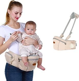 Baby Hip Seat Carrier Baby Waist Stool for Child Infant Toddler with Adjustable Strap Buckle Pocket Soft Inner Huge Storage (Khaki)