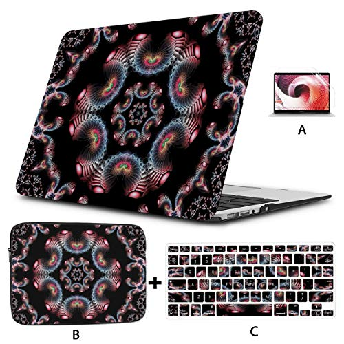 MacBook Protector Tile Ornament Kaleidoscope Colorful Units Rainbow MacBook Pro A1708 Case Hard Shell Mac Air 11'/13' Pro 13'/15'/16' with Notebook Sleeve Bag for MacBook 2008-2020