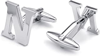 Honey Bear Cufflinks For Mens - Initial Alphabet 26 Letters A-Z Silver Wedding Formal Business Gift