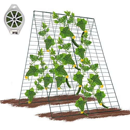 GROWNEER 34 x 48 Inches Foldable Cucumber Trellis with 328 Feet Twist Ties, for Cucumber, Climbing Plants Vegetables Flowers