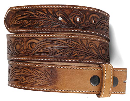 Belt for buckle Western full grain Leather Engraved Tooled Strap w/Snaps for Interchangeable Buckles, USA,2022-06, size 46