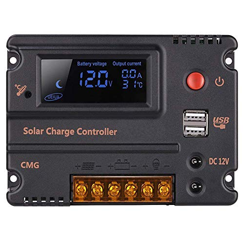 GHB 20A 12V 24V Solar Charge Controller Auto Switch LCD Solar Panel Battery Regulator Charge Controller Overload Protection Temperature Compensation