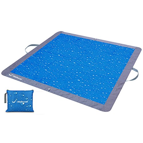 HM&DX Outdoor Wasserdicht Picknickdecken Handtaschen Tragbare Faltbar Leicht Picknickdecke campingdecke Sand-Nachweis Stranddecke Frühling Picknick-Matte-blau 160x160cm(63x63inch)