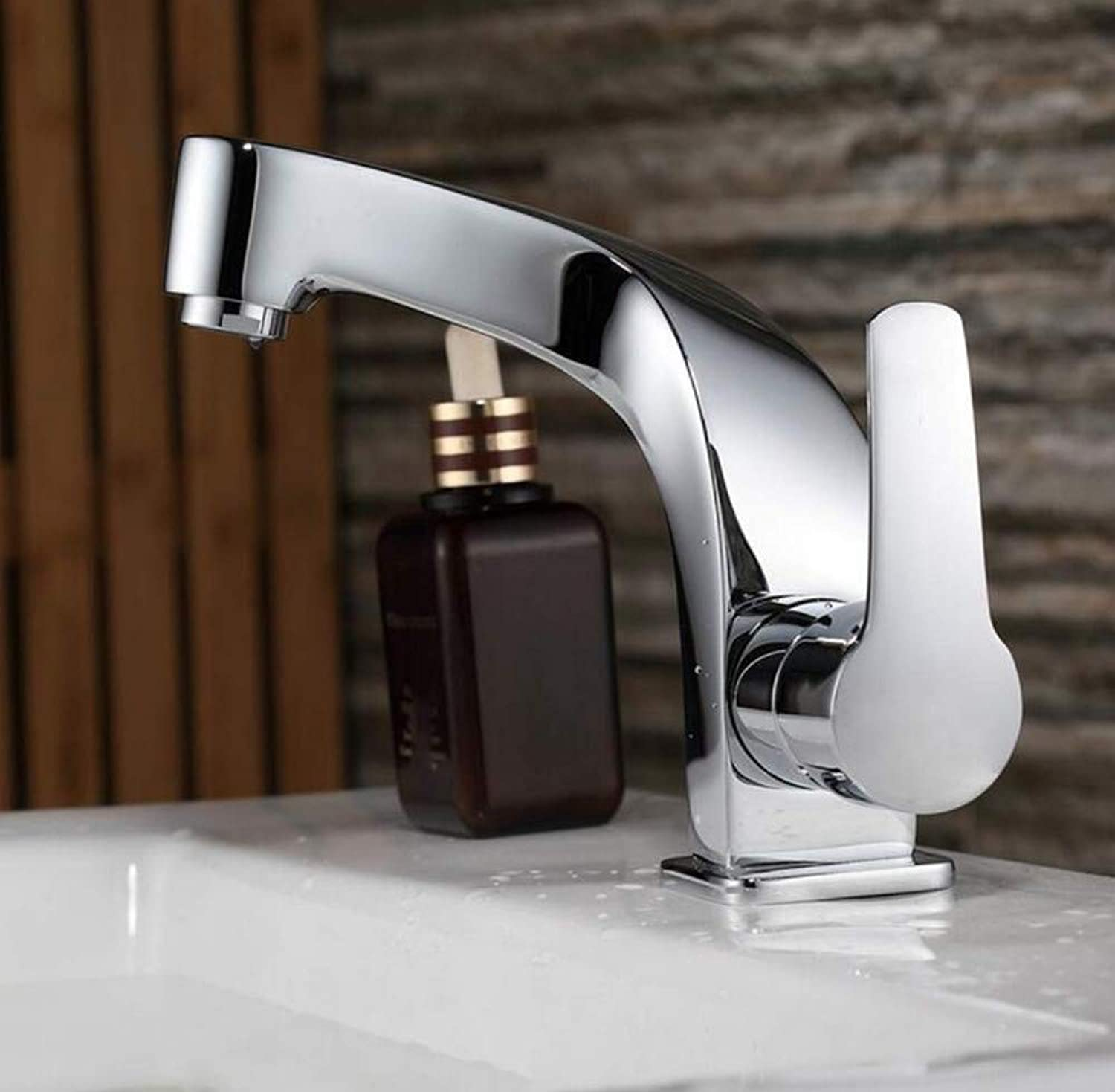 Brass Hot and Cold Chrome Plating Chromed Mixer Single Handle Single Hole Surface Mounted Bathroom Sink Faucet