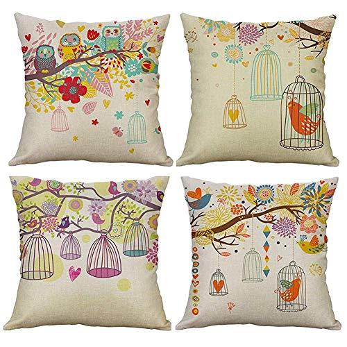 Freeas Set of 4 Owl Bird Cage Tree Sofa Cushions Decorative Cotton Linen Pillow Cushion Cover Sofa Pillowcase Pillow Case 45x45 cm