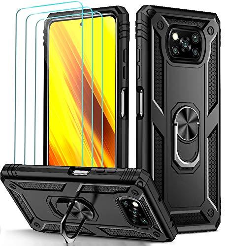 ivoler Funda para Xiaomi Poco X3 Pro/Poco X3 NFC / X3 con [Cristal Vidrio Templado Protector de Pantalla *3], Anti-Choque Carcasa con Anillo iman Soporte, Hard Silicona TPU Caso - Negro