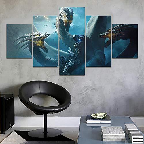 diedfd Modernes Wandgemälde-Plakat Neues 5-Satz-Godzilla-Filmkunst-Druck-Hauptdekor König Ghidorah VS Godzilla-Leinwandrahmen Modulares Bild