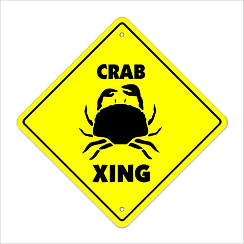 "Crab Crossing Sign Zone Xing | Indoor/Outdoor | 12"" Tall Crabs Shack Cracker Blue King Dungeness Lover MD"