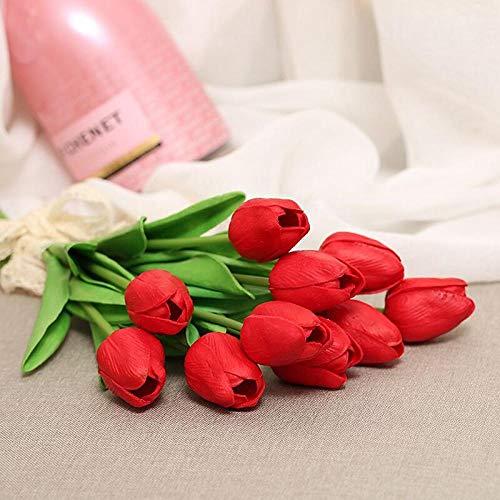YDHP 10 Piezas de simulación de Flores Artificiales de tulipán Ramo de Flores Falsas para la decoración de la Boda Flores Home Garden-Red