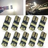 TORIBIO 10pcs T10 168 194 LED Bulbs 4014 15-SMD Super Bright LED Bulb for Dome Reverse Light,Interior Light,Front Sidelights Marker Lights Bulbs 6000K DC12V White